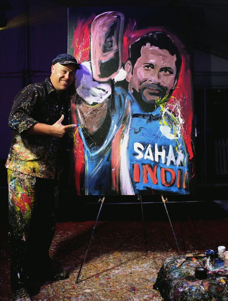 Live painting of Sachin Tendulkar Indian Cricketer